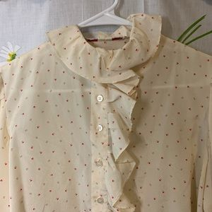 Vintage ruffle collar 80s 90s button down blouse